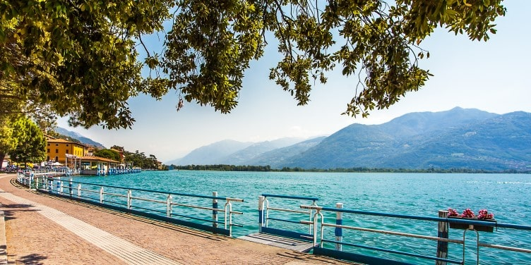 Views from the promenade in Lovere on the Lago d Iseo in Lombardy, Italy
