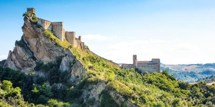 Views of Castello di Roccascalegna castle in Chieti, Abruzzo