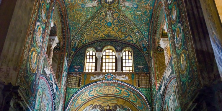 Mosaic ceiling inside of the San Vitale basilica in Ravenna, Italy