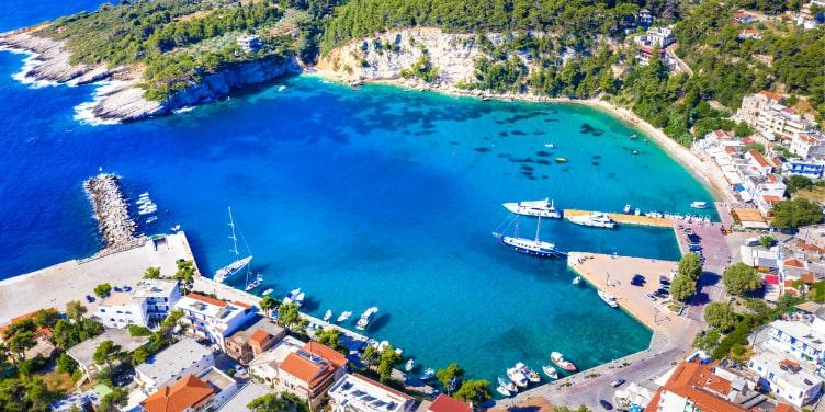 Aerial view of the Patitiri harbor on Alonnisos island, Greece.