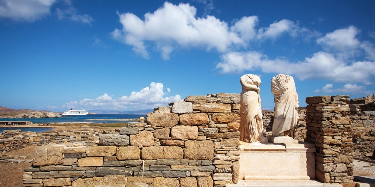 Ruins of the Cleopatra House on Delos island in Greece