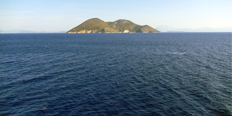 View of Erikousa island from the ferry
