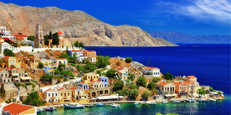 View of the harbour on Symi island.