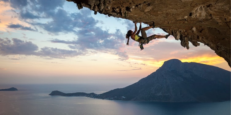 Kalymnos rock climbing at sunset